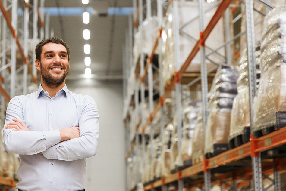 An energy efficiency expert in a warehouse