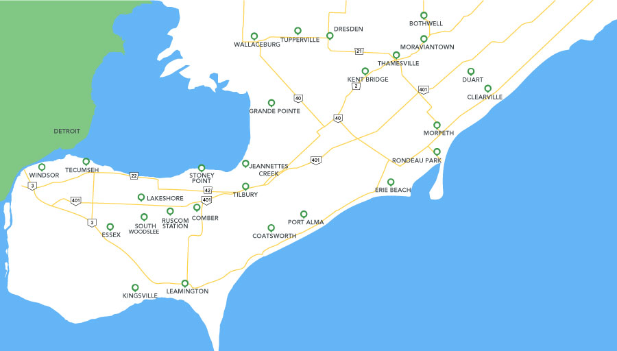 Map of Windsor-Essex, Chatham-Kent region