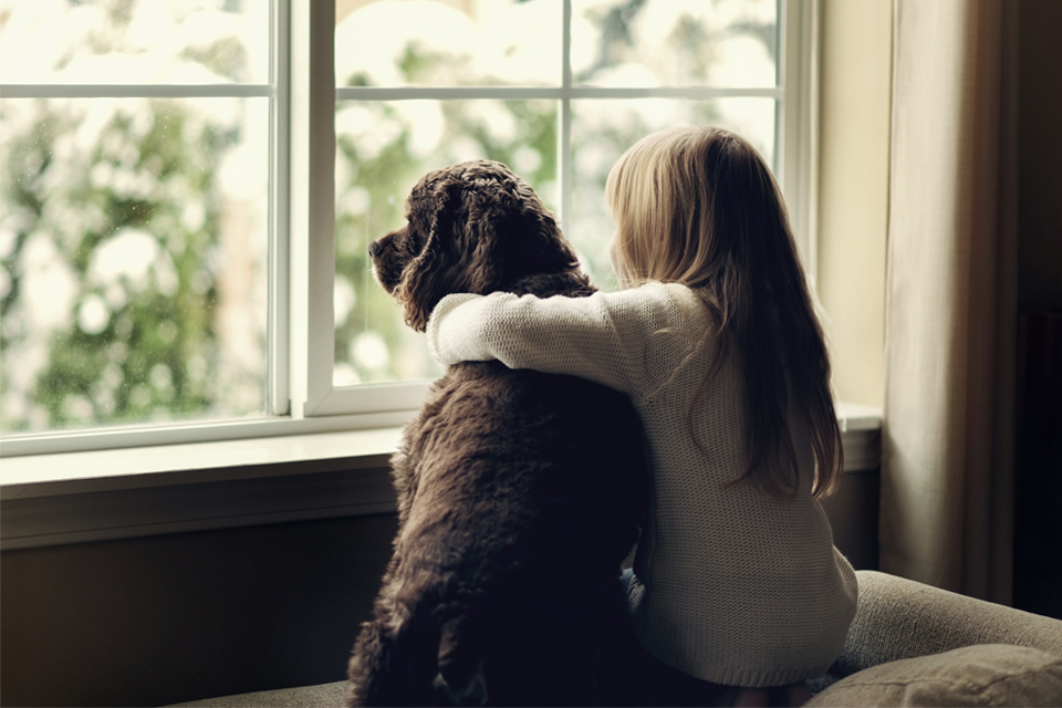 young girl hugging dog while looking out a window
