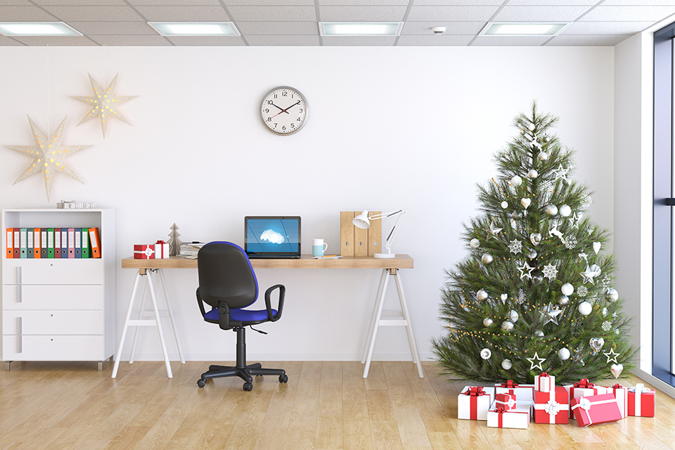 Empty office space decorated for Christmas holidays